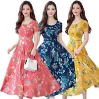 Plus Size Floral Print Slim Long Dress Women O-neck Short Sleeve Dresses
