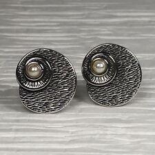 Vintage Swank Cufflinks Silver Tone Snail Shell Faux Pearl Elegant