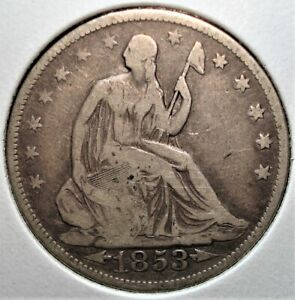 1853 Silver Seated Liberty Half Dollar with Arrows and Rays