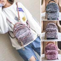 Convertible Faux Fur Small Mini Backpack Rucksack Shoulder bag Chain Purse New 1