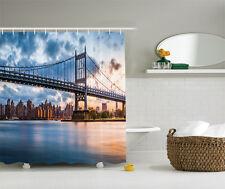 New York City Kennedy Triboro Bridge Queens NYC Lights Manhattan Shower Curtain