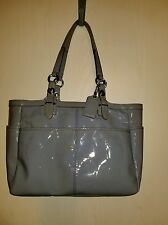 Coach Gallery Sky Blue Embossed Patent Leather Shoulder Bag Tote