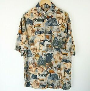 Vintage Mens 90S abstract crazy print festival shirt SIZE Large (E4800)