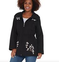 Dennis Basso Water Resistant Embroidered Zip Front Hooded Jacket - Black -Medium