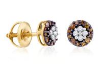 10K Yellow Gold Chocolate Brown & White Diamond Earrings Screw Back Studs .33ct