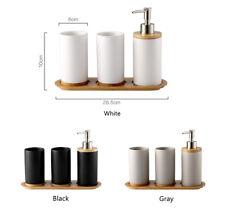 4-Piece Bathroom Set Soap Dispenser Pump Toothbrush Holder Tumblers Wooden Tray