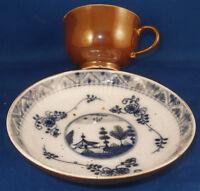 Antique 18thC Meissen Porcelain Cup & Saucer Brown Blue Scene Porzellan Tasse