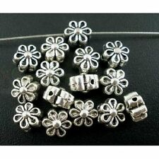25 ANTIQUE SILVER FLOWER SPACER BEADS 6 x 4mm BRACELETS~NECKLACES~EARRINGS (75C)