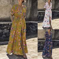 Élégant Femme Robe Simple Imprimé Floral Col V Fendu Longue Dresse Maxi Plus