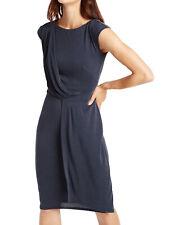 M&S NAVY SLINKY JERSEY DRAPE WRAP FRILL SHIFT DRESS WORK WEEKEND 18 PETITE