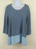 Cut Loose Blue Striped Linen 3/4 Sleeve Blouse Tunic Top Women's Small