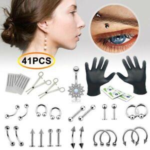 41PCS/Set Body Piercing Tool Kit Ear Nose Navel Nipple Needles 14G&16G  Set Kits