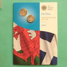 2011 Royal Mint Edinburgh & Cardiff One pound £1 BU set SNo50588