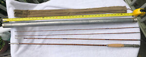 Vintage 9' Bamboo & German Silver Fly Rod 4 Pc 2 Tip Poss. H & I Abbey & Imbrie