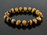 Natural 5A Yellow Tiger Eye Round Stone Bead Stretch Bracelet