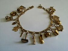 OUTRAGEOUS ESTATE 18K SOLID YELLOW GOLD CHARM BRACELET - 1920'S - ONE OF A KIND