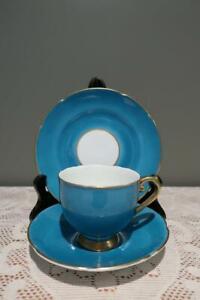 Vintage Stanley Bone China Trio - Deep Teal Blue - England - High Tea - Gc