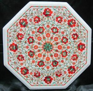 Hand Crafted Decent Pattern Inlay Patio Table Top Octagon Marble Coffee Table