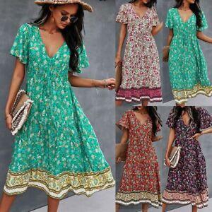 Womens Cotton Boho Floral Midi Dress Ladies Summer V-neck Short Sleeve Sundress