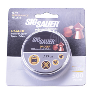 Sig Sauer Dagger Copper Coated Pointed .177 4.5mm Pellets Hunting Vermin 500 Tin