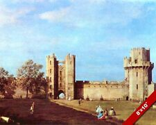 WARWICK CASTLE COURTYARD ENGLAND LANDSCAPE PAINTING ART REAL CANVAS PRINT
