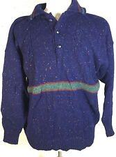 Blue Clan Royal Scottish Shetland Wool Jumper Sweater L Edinburgh Scotland SBA