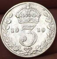 1919 Great Britain 3 Pence .925 SILVER GEROGE V  ***XF/AU**  U GRADE THE COIN