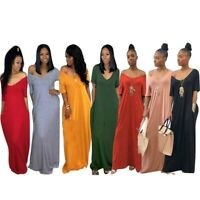 Chic Women's  Off Shoulder Long Maxi Dress V Neck Pocket Short Sleeve Oversize