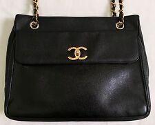 CHANEL CC Logo Vintage Black Caviar Leather Shoulder Bag