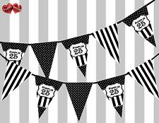 Chic Nero Felice 25th Compleanno Vintage Pois tema Bunting Banner Festa Uk