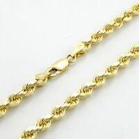 "10K Yellow Gold Unisex 4mm Light Diamond Cut Rope Chain Pendant Necklace 20"""