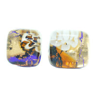 Murano Glass Stud Earrings Gold and Multi Coloured Handmade Venice