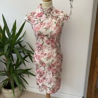 Vtg 90's Y2K Pink Floral Chinese 'Cheongsam' Style Dress Sz XS 6 8