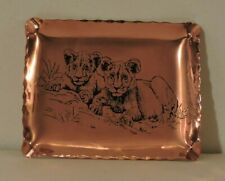 Brass Ashtray Lion Pair Etched on to it New Condition