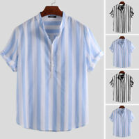 Mens Casual Linen Striped Shirt Short Sleeve Loose Collarless Holiday Blouse Top