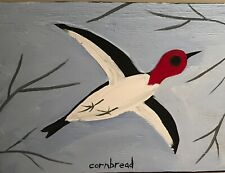 "John ""Cornbread"" Anderson Original Woodpecker Contemp Folk Outsider Art Painting"