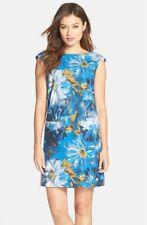 Tahari Floral Print Blue White Linen Blend Sleevless Shift Dress 4 NWT