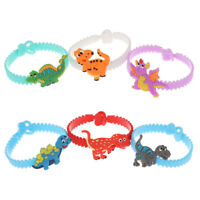 6pcs Dinosaur Rubber Bangle Bracelet Kids Birthday Gifts Jungle Party Decor NT