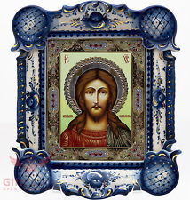 Russian Porcelain Gzhel gold Christian Icon of Christ Pantocrator Спас. Оплечный
