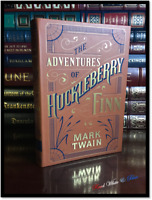 Adventures of Huckleberry Finn by Twain New Leather Bound Collectible w/ Ribbon