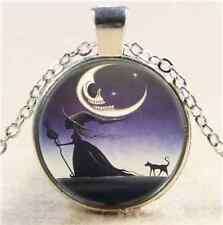 Gothic Witch and Cat Cabochon Glass Tibet Silver Chain Pendant  Necklace