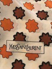 Women's Designer Vintage 1970's Yves Saint Laurent Leaf Print Silk Square Scarf