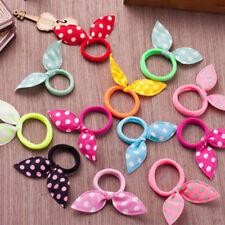10PCS Girls Hair Accessories Ribbon Dot Gum Headband Elastic Rubber Rope Bands