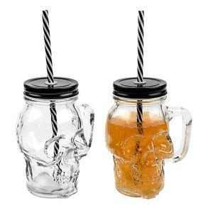 2x 3D Totenkopf Glas Trinkglas Trinkbecher mit Deckel und Strohhalm 350 ml