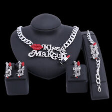 Red Sexy Lip And Enameled Crystal Lipstick Kiss Make Up Chain Necklace Ring Set