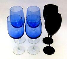 HOME - GLASSES - 6-PC LOT WINE GOBLETS, 4- COBALT BLUE & 2- SMOKE BLACK - NEW