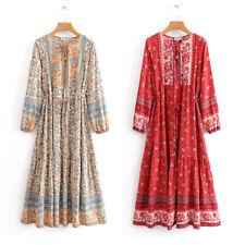 Boho Maxi Dress long sleeve floral ethic gypsy hippie bohemian modest muslim fal