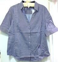 NY&C Striped V-Neck Short Sleeve Snap Up Shirt, Blue/ White, XL MSRP $39.95