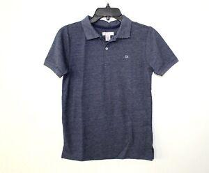 Calvin Klein Jeans Boys' Short Sleeve Polo Shirt Sz M (10-12) Heather Dark Blue