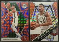 Lot of 2 Giannis Antetokounmpo 🔥 2019-20 Mosaic Silver & Blue Prizm #75 Bucks
